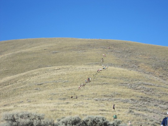 Runners heading up the mountain