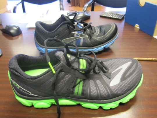 Brooks Running PureFlow 2 (in green).  PureFlow1 in background.